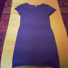 Dress Short sleeve purple and purple sparkle horizontal lines dress. Comfortable for day or night. Divided Dresses Mini
