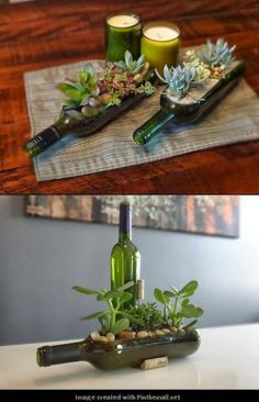 Flat wine bottle planters