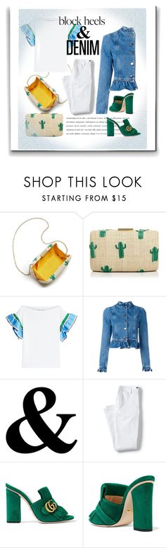 """""""Block heels&Denim"""" by bykookie ❤ liked on Polyvore featuring Kayu, Emilio Pucci, J.W. Anderson, Lands' End and Gucci"""