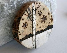 Winter Wonderland serie - bosque naturaleza arte - Arte de leña Original en redondo de madera de abedul