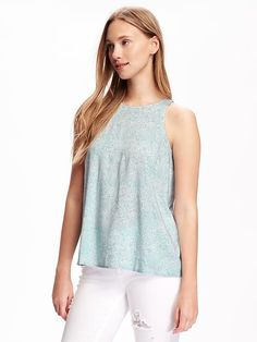 10e5245791c22 Patterned High-Neck Trapeze Tank for Women Old Navy Tank Tops