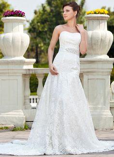 Wedding Dresses - $261.99 - A-Line/Princess Sweetheart Chapel Train Satin Lace Wedding Dress With Beading (002000118) http://amormoda.com/A-line-Princess-Sweetheart-Chapel-Train-Satin-Lace-Wedding-Dress-With-Beading-002000118-g118