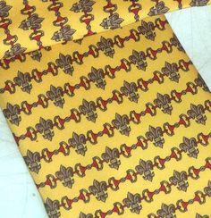 EQUESTRIAN D Ring Silk Necktie NOS Yellow Cherry by MushkaVintage3