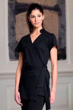 This ladies black cotton club wrap beauty tunic