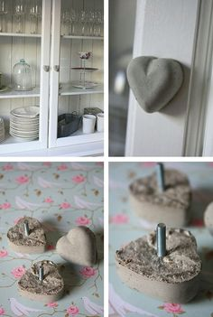 Make your own cabinet knobs and pulls with concrete (or use polymer clay?) in a tiny silicone baking or candy mold  -- put a bolt in the back before it hardens, attach later with a nut. From Karin Borg - Ellas Inspiration