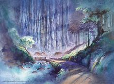 The Trail of Enchantment - Watercolor PRINT by Michael David Sorensen. Waterfall Painting. Hiking Path. Waterfall Wall Decor. Hiking Trail. Watercolor Trees, Watercolor Landscape, Watercolor Print, Watercolor Paintings, Columbia River Gorge, Waterfall Paintings, Thing 1, Mountain Paintings, Beautiful Artwork