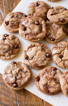 Nutella Chocolate Chip Cookies on sallysbakingaddiction.com. Soft, chewy, swirled with Nutella, and topped with sea salt. No dough chilling!