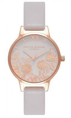 Olivia Burton Olivia Burton White And Rose Gold Lace Dial White Leather Strap Ladies Watch in One Colour Estilo Retro, Gold Lace, Blush Roses, Pink Leather, Smooth Leather, Rose Gold Plates, Quartz Watch, Lace Detail, Accessories