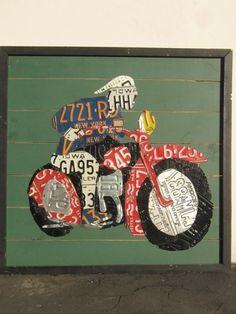 license Plate Art Original Motorcycle Man 40 x 40 by AaronFoster (themed art for the fair) License Plate Crafts, Old License Plates, License Plate Art, Mixed Media Sculpture, Design Show, Art Google, Metal Art, Metals, Originals