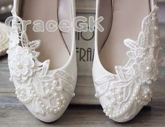 Lace Gem white ivory crystal Wedding shoes Bridal flats low high heel pump size