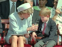 May Princess Diana and Prince Charles were joined by Prince William and Prince Harry at the Anniversary Celebration of VE Day in Hyde Park , London. Princess Diana mothering Prince Harry, who looks a bit under the weather. Princess Diana Death, Princess Diana Family, Princes Diana, Prince And Princess, Princess Charlotte, Princess Of Wales, Lady Diana Spencer, Diana Son, Meghan Markle