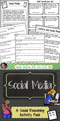 This activity pack for middle/HS will provide students with social challenges opportunities to reason about appropriate social media behavior. Task cards, worksheets and more! $