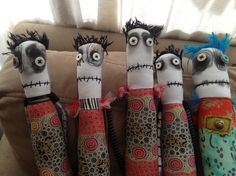 May 2014 snotnormal dolls / group of monster dolls Anxiety Faeries by Snotnormal on Etsy Snotnormal: Poke around and pick something out!!! https://www.etsy.com/shop/Snotnormal