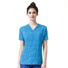 b5374bd63f6 Carhartt Women's Cross-Flex V-Neck Print Top in Free Feather Galaxy
