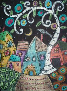 9x12 Original oil pastel, Birch Village, copyrighted, www.karlagerard.com