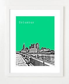 Columbus Ohio Art Print  Columbus Skyline Poster by BugsyAndSprite, $20.00