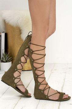 7c9691c17636 Front Row Seat Olive Suede Lace-Up Gladiator Sandals