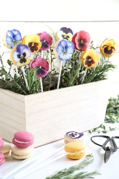 This Mother's Day, surprise a special lady with a DIY edible bouquet of pretty pastel macarons adorned with edible-paper pansies.