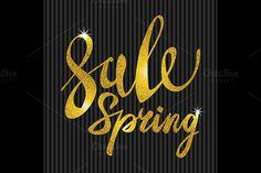 Spring Sale. Gold glamor, light by Rommeo79 on @creativemarket