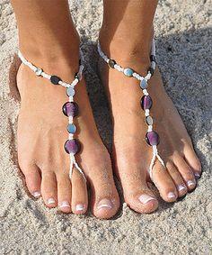 White & Abalone Beaded Barefoot Sandal