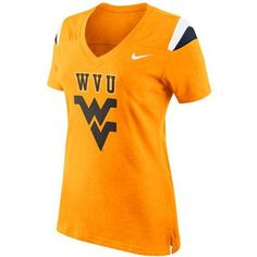 Nike West Virginia Mountaineers Ladies Fan Top V-Neck T-Shirt - Old Gold