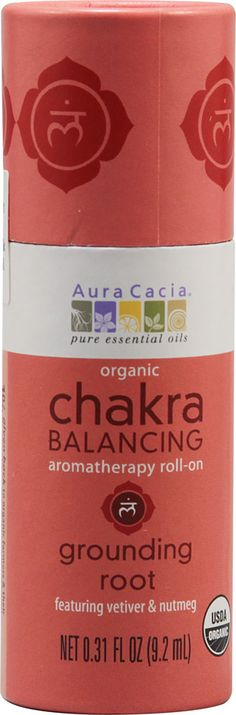 Aura Cacia Chakra Balancing Aromatherapy Roll On Grounding Root Vetiver & Nutmeg
