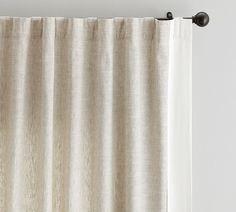 Emery Framed Border Linen x At Pottery Barn - Rugs & Windows - Drapes & Curtains - Linen Grey Blackout Curtains, Neutral Curtains, Drapes And Blinds, White Curtains, Drapes Curtains, Drapery, Cotton Curtains, Velvet Curtains, Grommet Curtains