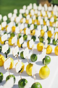 Lemon and lime place cards: http://www.stylemepretty.com/little-black-book-blog/2014/12/11/playful-elegance-in-palm-springs/ | Photography: Onelove - http://www.onelove-photo.com/