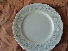 Syracuse China Dinner Plate Scallop Edge White Background with Gray Floral December 1959 USA by GrandmothersTable on Etsy Syracuse China, Scalloped Edge, Dinner Plates, Decorative Plates, Dishes, Dining, Tableware, December, Etsy