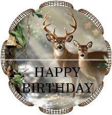 ... Happy Birthday Buck & Doe Deer Hunter Hunting Cupcake Dessert Toppers
