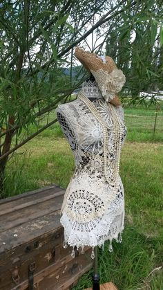 off sale Country Dazzled Doilies/ A plethora of vintage for your boudoir! Dress Form Mannequin, Creation Deco, Black Velvet Dress, Fabric Roses, Off Sale, Head Pins, Vintage Pearls, Doilies, Etsy Vintage