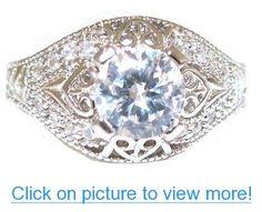 Vintage Style Platinum Plated Cubic Zirconia Promise Engagement Ring Sizes 6 7 8 9 #Vintage #Style #Platinum #Plated #Cubic #Zirconia #Promise #Engagement #Ring #Sizes