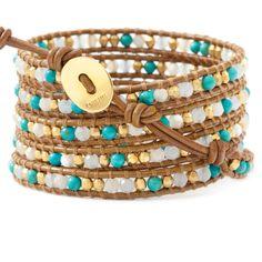 Turquoise Mix Wrap Bracelet on Henna Leather - Chan Luu