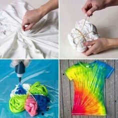 Tye dye t-shirt. Use Kool-Aid and white vinegar. (Solution of unsweetened Kool Aid, 4 cups warm water 1 cup white vinegar in a container, tie a rubber band around a section of the t-shirt and soak for several hours. Easy Diy Tie Dye, How To Tie Dye, Diy Tie Dye Kool Aid, Tie Dye Tips, Homemade Tie Dye, Diy Tie Dye Shirts, T Shirt Diy, Ty Dye Shirts, T Shirt Crafts