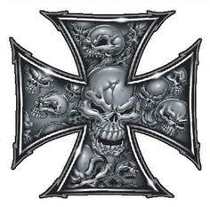 Grey skull ironcross color decal skull and crossbones decals skull iron cross tattoo google search publicscrutiny Gallery