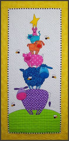 Barnyard Skyscraper Wallhanging EPattern by Amy Bradley Designs Quilting Projects, Quilting Designs, Sewing Projects, Quilting Ideas, Sewing Ideas, Baby Quilt Patterns, Applique Patterns, Girls Quilts, Baby Quilts