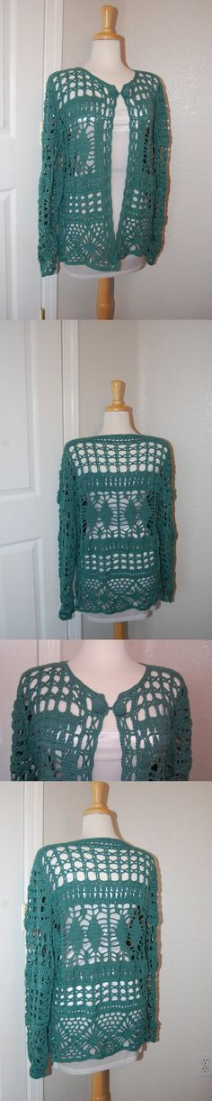 Woman's Crochet Cardigan in Deep Green Cotton Size by LoyesThread