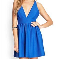 Blue Textured Skater Dress