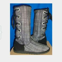NEW IN BOX Uggs Hard to find! Authentic NIB Uggs harbour lace up boots in tweed UGG Shoes Lace Up Boots