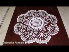 Creative easy freehand rangoli designs *simple kolam with out dots * latest fridai lotus muggulu - YouTube