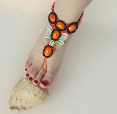 Boho barefootThe cloth embroidered with orange by Themagicofcolors, $39.00