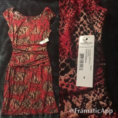 Red/Coral/Black Animal Print Dress New - Haven't worn Size 8 Bisou Bisou Dresses