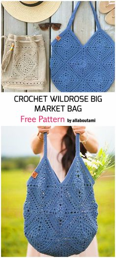 Crochet Gifts, Free Crochet, Knit Crochet, Knitting Patterns, Crochet Patterns, Crochet Market Bag, Crochet Purses, Crochet Bags, Bag Pattern Free
