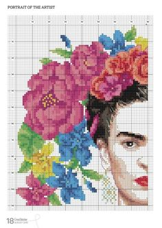 Frida Kahlo needlework chart (rest of chart at link) Small Cross Stitch, Cross Stitch Letters, Cross Stitch Bookmarks, Cross Stitch Bird, Cross Stitch Flowers, Cross Stitching, Wedding Cross Stitch Patterns, Disney Cross Stitch Patterns, Modern Cross Stitch Patterns