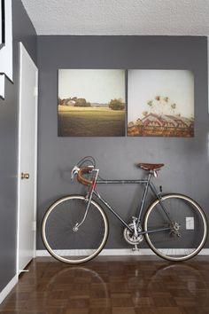 art + grey walls