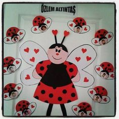 Ladybug crafts for preschool - School Door Decorations, Valentines Day Decorations, Valentine Crafts, Lady Bug, Spring Crafts For Kids, Art For Kids, Ladybug Bulletin Boards, Preschool Decor, Kindergarten Art