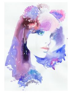 Watercolor Fashion Illustration Print 8 x titled: Biba Watercolor Art Diy, Watercolor Fashion, Watercolor Portraits, Watercolor Paintings, Watercolours, Painting Art, Illustration Art Nouveau, Watercolor Illustration, Guache