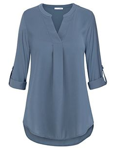 online shopping for Women's V Neck Pleated Cuffed Sleeve Chiffon Blouse Causual Tunics Shirt Tops from top store. See new offer for Women's V Neck Pleated Cuffed Sleeve Chiffon Blouse Causual Tunics Shirt Tops Shirt Bluse, Tunic Shirt, Tunic Tops, Blouses For Women, T Shirts For Women, Women's Blouses, Spring Shirts, Plus Size Shirts, Cuff Sleeves