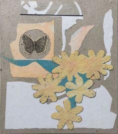 Jutta Scheiner: Camberwell Beauty. #Collage, #Mixedmedia, Acryl auf Karton #Schmetterling #butterfly #Blüten #Experiment #Wissenschaft #Menschheit #juttascheiner #startyourart www.startyourart.de