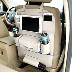 Delmkin Auto Rücksitztasche Utensilientaschen Hochwertige Leder Autositzschutz Tablet Organizer